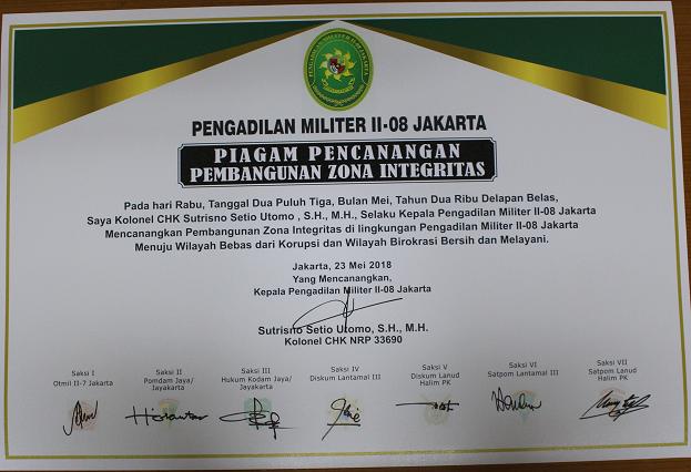Deklarasi Pencanangan Pembangunan Zona Integritas Dilmil Ii 08 Jakarta Pengadilan Militer Ii 08 Jakarta